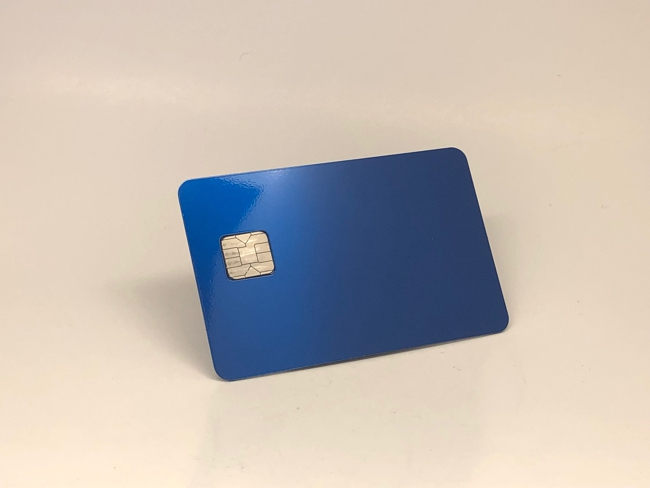 anodized blue metal credit card v3