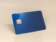anodized blue metal credit card