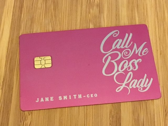 custom engraved pink metal credit card