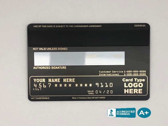 back metal credit card full info with pdp