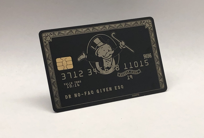 mr money bags metal credit card