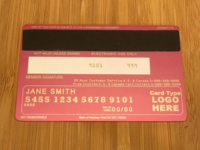 Pink metal credit card