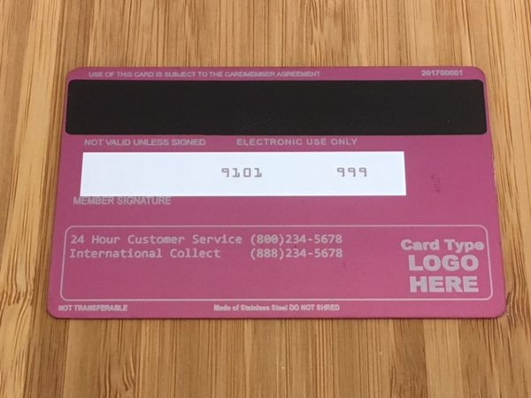 Pink metal credit card template #2 Back