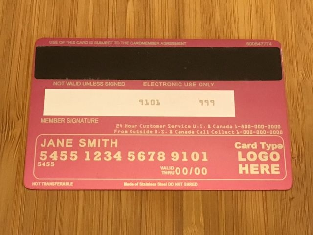 Pink metal credit card (Back)