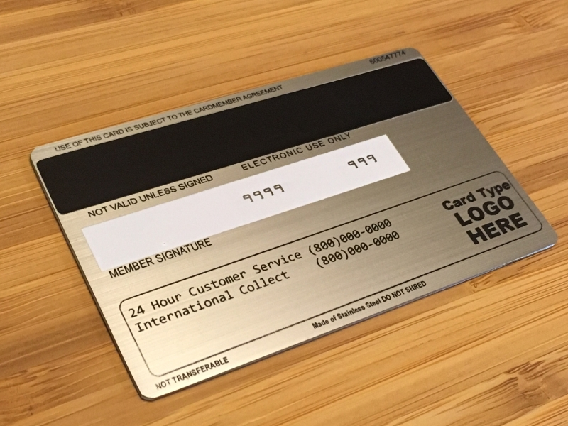 Brushed Stainless Steel Metal (Back of Card)