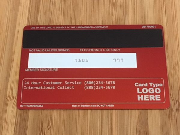 Red Metal Credit card Template #2 Back