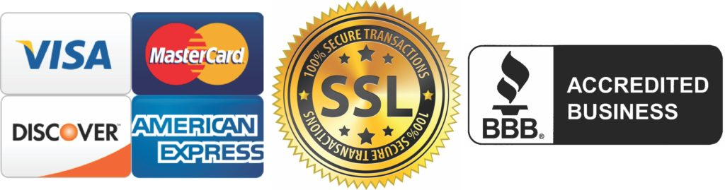 All Major Credit Cards Accepted, SSL Secured, and held to BBB Standards