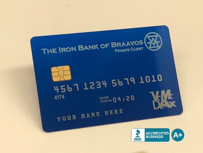 Custom Anodized Blue Metal Credit Cards