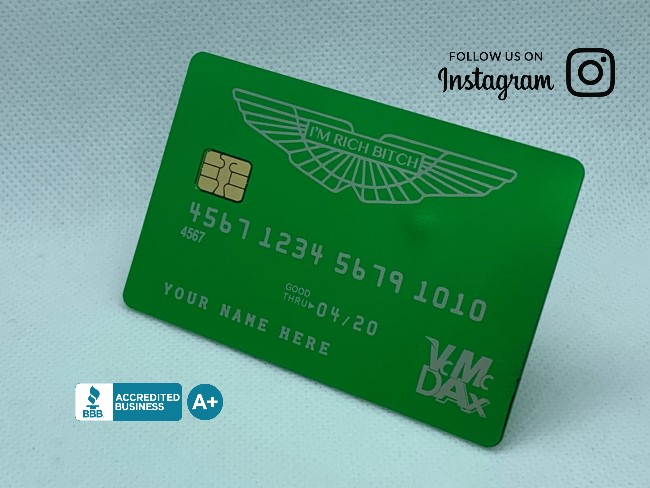 Custom Anodized Green Metal Credit Cards