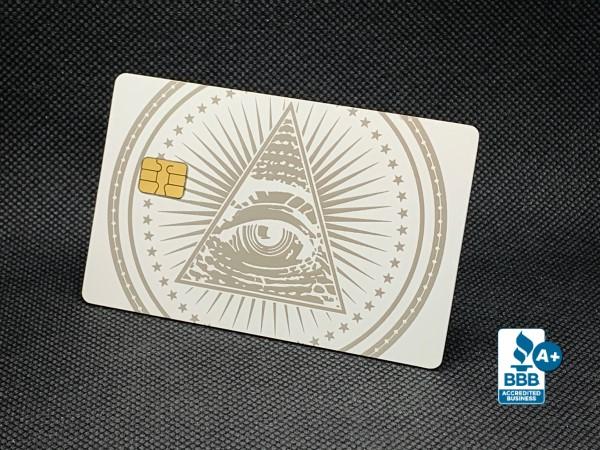 Custom Matte White Metal Credit Cards