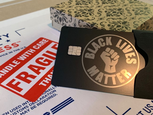 black lives matter metal debit card