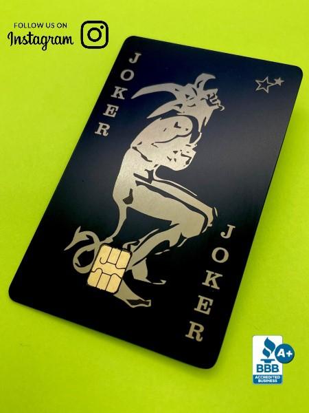 Vintage Joker Playing Card Design (matte-black)